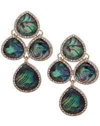 Anne Klein Pear-stone Chandelier Ez Comfort Clip-on Earrings - Green