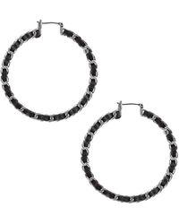 Lucky Brand Silvertone Leather Wrap Hoop Earrings - Black