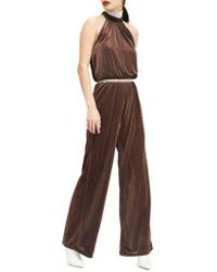 Miss Selfridge Metallic Highnneck Jumpsuit - Brown