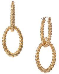 Christian Siriano Goldtone Textured Double Hoop Drop Earrings - Metallic