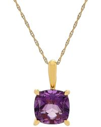 Lord + Taylor Amethyst And 14k Yellow Gold Cushion Pendant Necklace - Purple