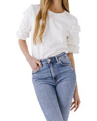 Endless Rose Ruffled Sleeve T-shirt - White