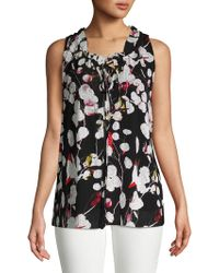 Ellen Tracy - Petite Shirred Neck Sleeveless Top - Lyst