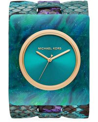 Michael Kors Willa Marbled Acetate & Python-embossed Leather Strap Watch - Blue