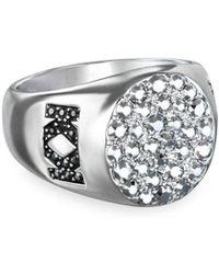 Karl Lagerfeld Klassic Karl Signnet Swarovski Crystals Ring - Metallic