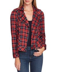 Two By Vince Camuto Highland Plaid Moto Jacket - Red