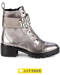 Karl Lagerfeld Pippa Metallic Leather Combat Boots