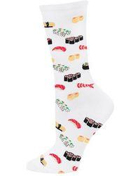 Hot Sox Sushi Print Trouser Socks - White