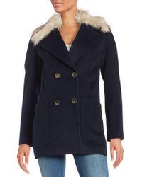 Eliza J - Faux Fur Trimmed Walking Coat - Lyst