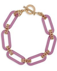 Christian Siriano Goldtone And Lucite Link Collar Necklace - Pink