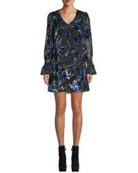 Laundry by Shelli Segal Floral Velvet Burnout Flounce Dress - Blue