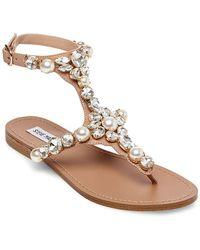 Steve Madden - Chantel Embellished Leather Sandals - Lyst