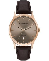 Kenneth Cole - Stainless Steel Analog Leather Strap Watch - Lyst