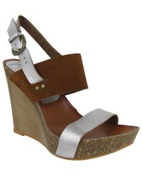 MIA - Foxy Leather Slingback Wedge Sandals - Lyst