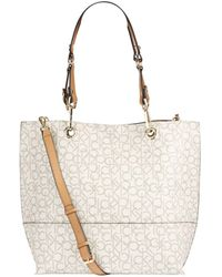 Calvin Klein - Two-Tone Reversible Leather Tote - Lyst