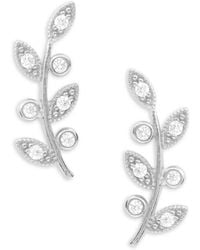 Tai - Stone-accented Sterling Silver Leaf Stud Earrings - Lyst