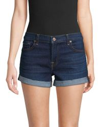 7 For All Mankind Roll-up Shorts - Blue