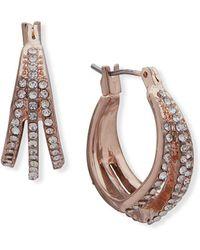 """Anne Klein - Crystal Three-row Hoop Earrings-0.75"""" - Lyst"""