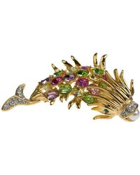 Kenneth Jay Lane Crystal Fish Pin - Metallic