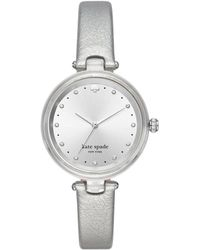 Kate Spade Holland Three-hand Lucite Silvertone Leather Watch - Metallic