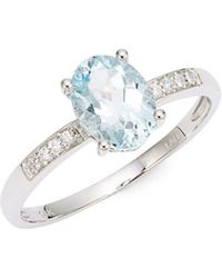 Lord + Taylor - 14k White Gold Diamond And Aquamarine Ring - Lyst