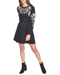 Miss Selfridge - Embroidered Long Sleeve Fit-&-flare Dress - Lyst