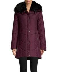 Weatherproof - Faux-fur Trim Smocked & Quilted Walker Coat - Lyst