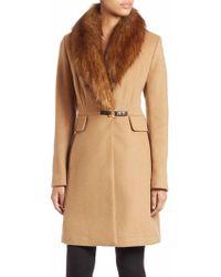 Ivanka Trump - Faux Fur-trimmed Wool Blend Coat - Lyst