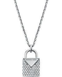 Michael Kors Sterling Silver & Crystal Padlock Pendant Necklace - Metallic