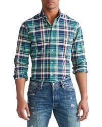 Polo Ralph Lauren Slim-fit Plaid Stretch Shirt - Green