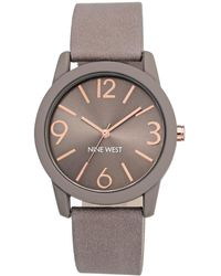 Nine West - Textured Strap Arabic And Bar Indicies Watch- Nw-1930tprg - Lyst