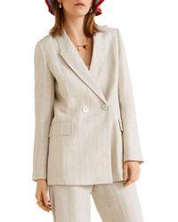 Mango Structured Linen Jacket - Natural