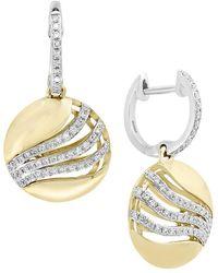 Effy D'oro Diamond And 14k Yellow Gold Drop Earrings - Metallic