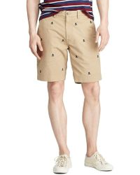 Polo Ralph Lauren Classic-fit Embroidered Stretch Chino Shorts - Natural
