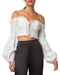 3ed5a24d03745 Tiger Mist - Zimmi Off-the-shoulder Cropped Top - Lyst