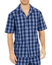 Nautica Buffalo Plaid Cotton Pyjama Shirt - Blue