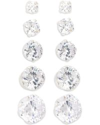 Lord & Taylor - Five-pair Sterling Silver & Cubic Zirconia Stud Earrings Set - Lyst