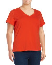 Lord & Taylor - Plus V-neck Tee - Lyst