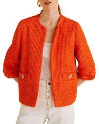 Mango Cropped Tweed Jacket - Orange