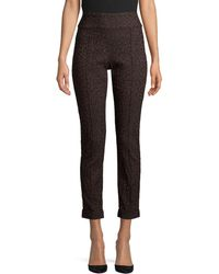 Lord + Taylor Kelly Animal-print Pull-on Ankle Trousers - Black
