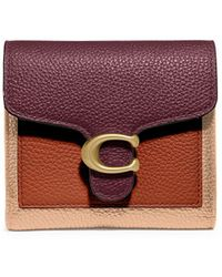 COACH Small Tabby Colorblock Leather Wallet - Purple
