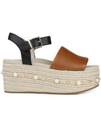 Kenneth Cole - Indra Studs Leather Wedge Espadrilles - Lyst