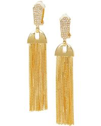 Vince Camuto Crystal Tassel Clip-on Earrings - Metallic