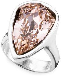 Uno De 50 Strut Crystal Statement Ring - Metallic