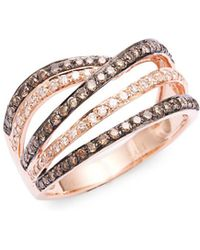 Lord + Taylor - 14k Rose Gold White Diamond And Brown Diamond Ring - Lyst