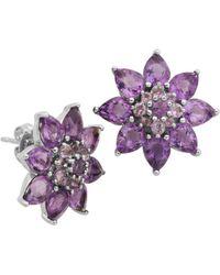 Lord + Taylor Amethyst Flower Stud Earrings - Purple
