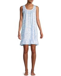 Miss Elaine Printed Ruffle Nightgown - Blue