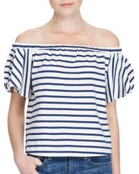 Polo Ralph Lauren - Striped Off Shoulder Top - Lyst
