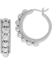Lord & Taylor - Diamond And Sterling Silver Hoop Earrings/1-inch - Lyst