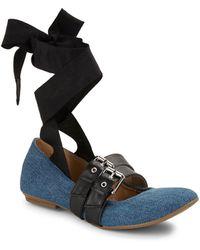 Luxury Rebel Sari Denim Lace Up Ballerina Flats - Blue